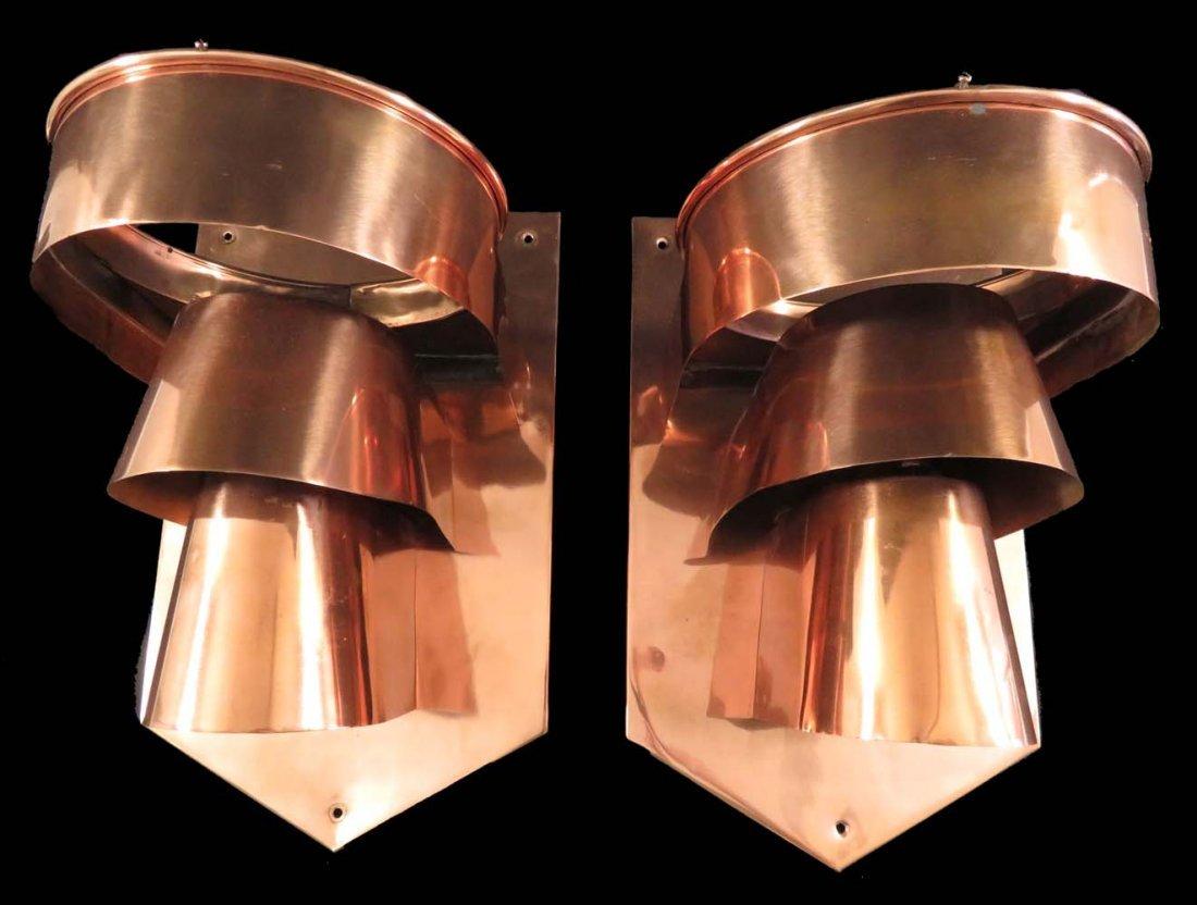 Vintage Art Deco Copper Sconces w/ Glass Globes