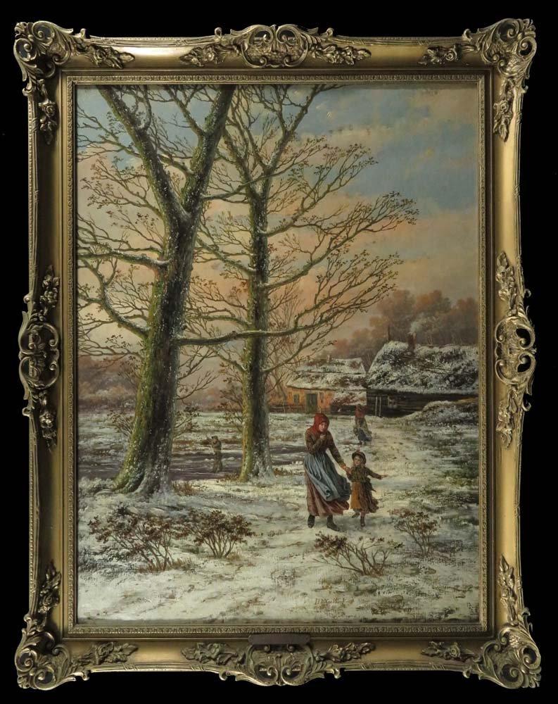 HB Koekkoek LG Winter Landscape Mother Child