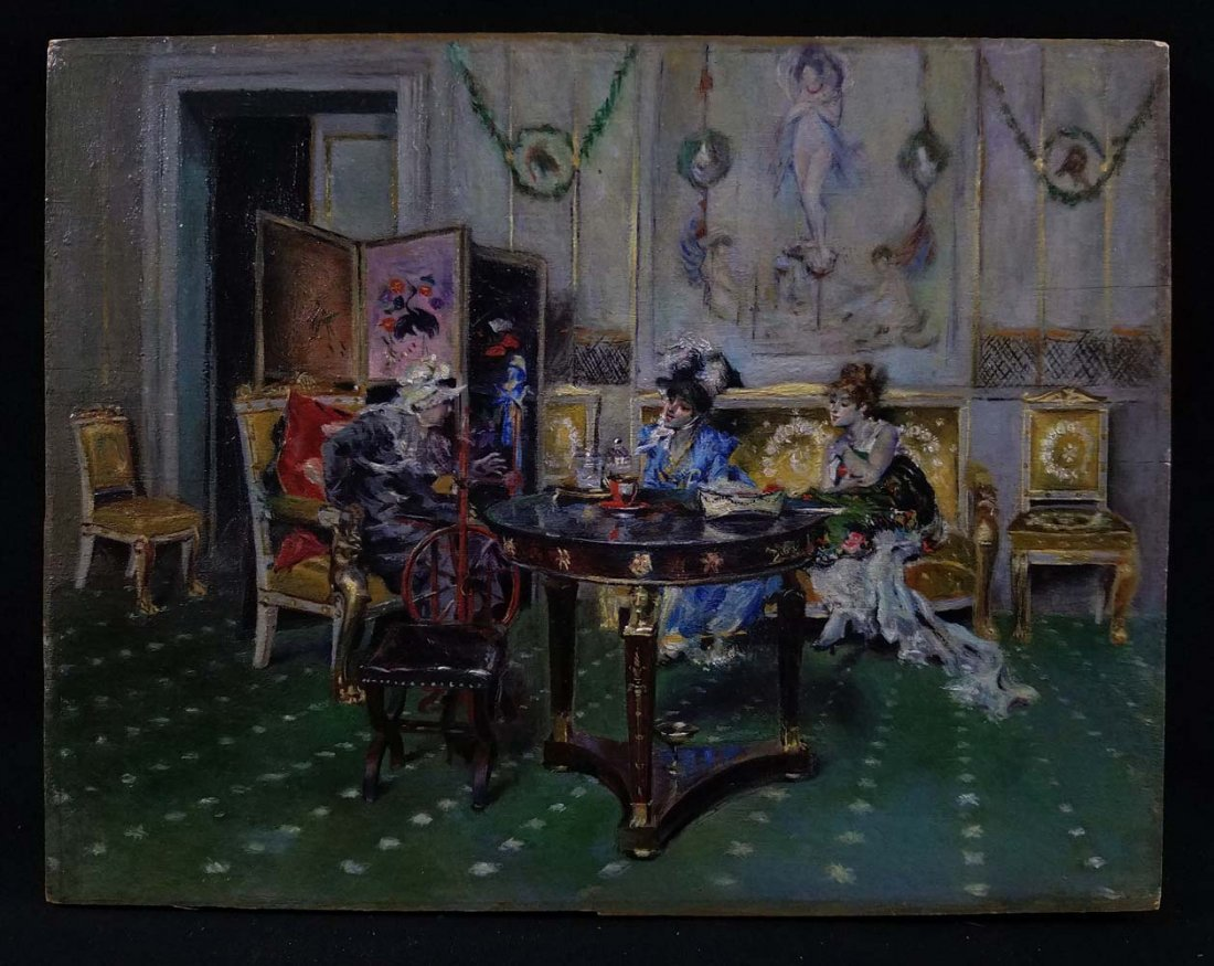 French Genre Attrib Gaugengigl Women Parlor Scene
