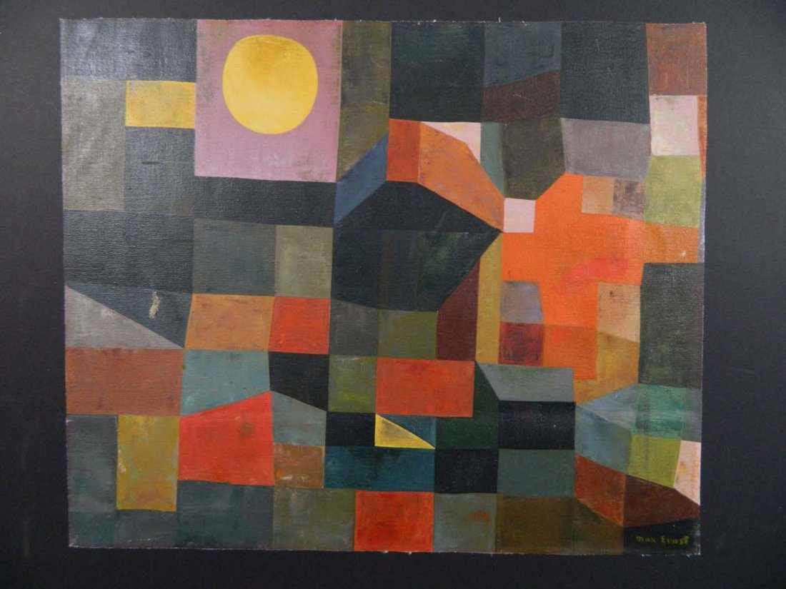 Max Ernst Cubist Shapes Oil Unstretched Canvas