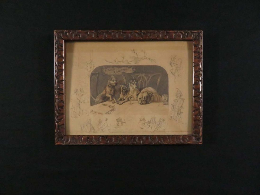 Frank Paton Merry Christmas Dogs Pencil Signed