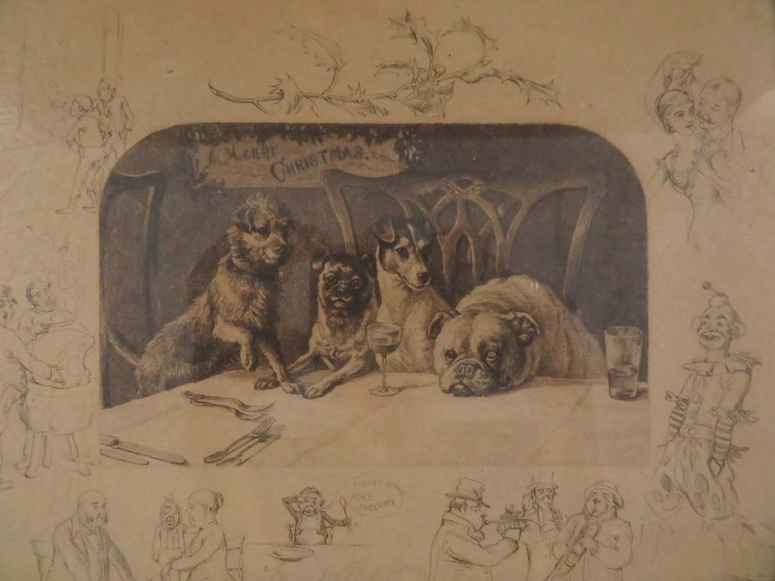 Frank Paton Merry Christmas Dogs Pencil Signed - 2