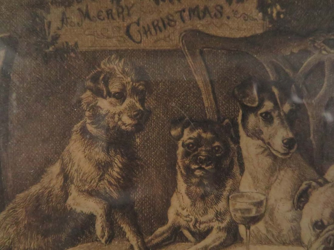 Frank Paton Merry Christmas Dogs Pencil Signed - 3