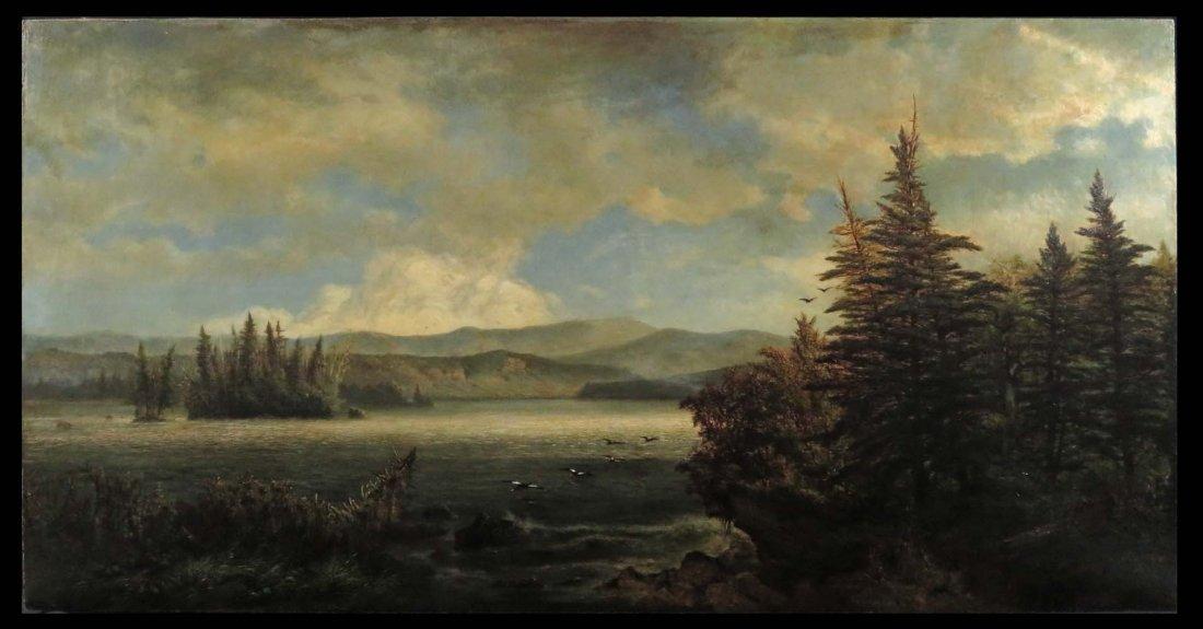 AF Wust LG 30x60 Lake Landscape w/ Geese