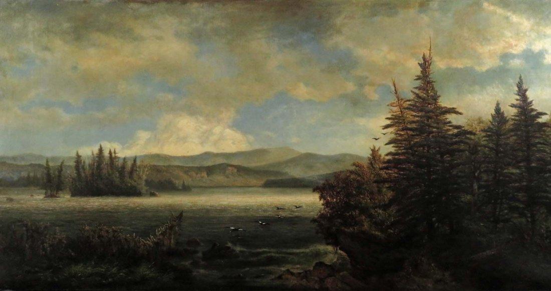 AF Wust LG 30x60 Lake Landscape w/ Geese - 2