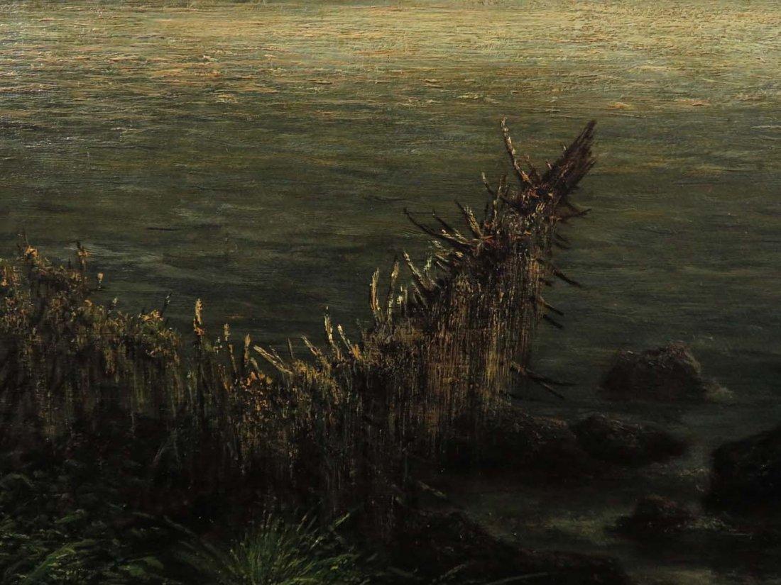 AF Wust LG 30x60 Lake Landscape w/ Geese - 8