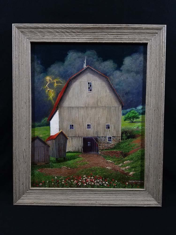 Martha Patterson WPA style barn, lightening