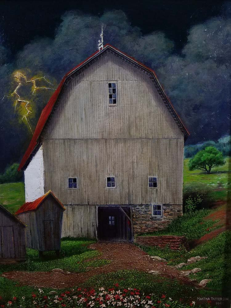 Martha Patterson WPA style barn, lightening - 2