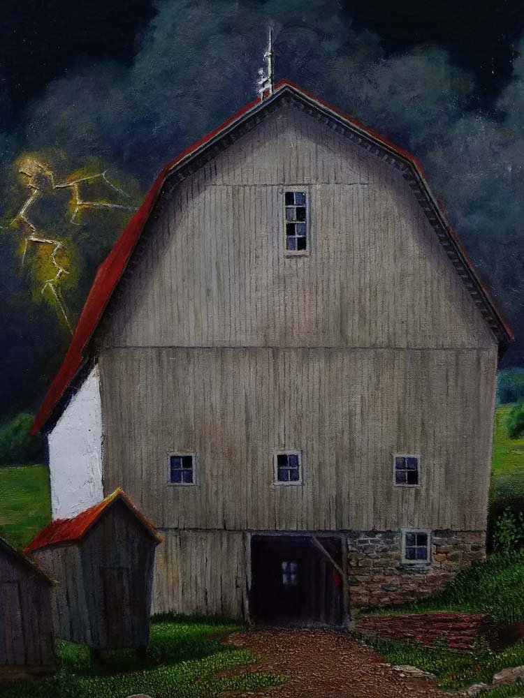 Martha Patterson WPA style barn, lightening - 3