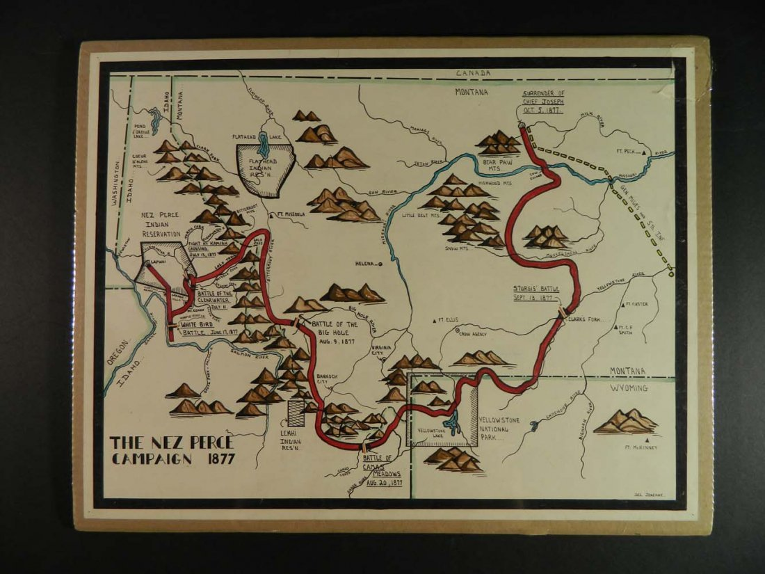 Jeneary Painted Map Nez Perce Campaign in 1877