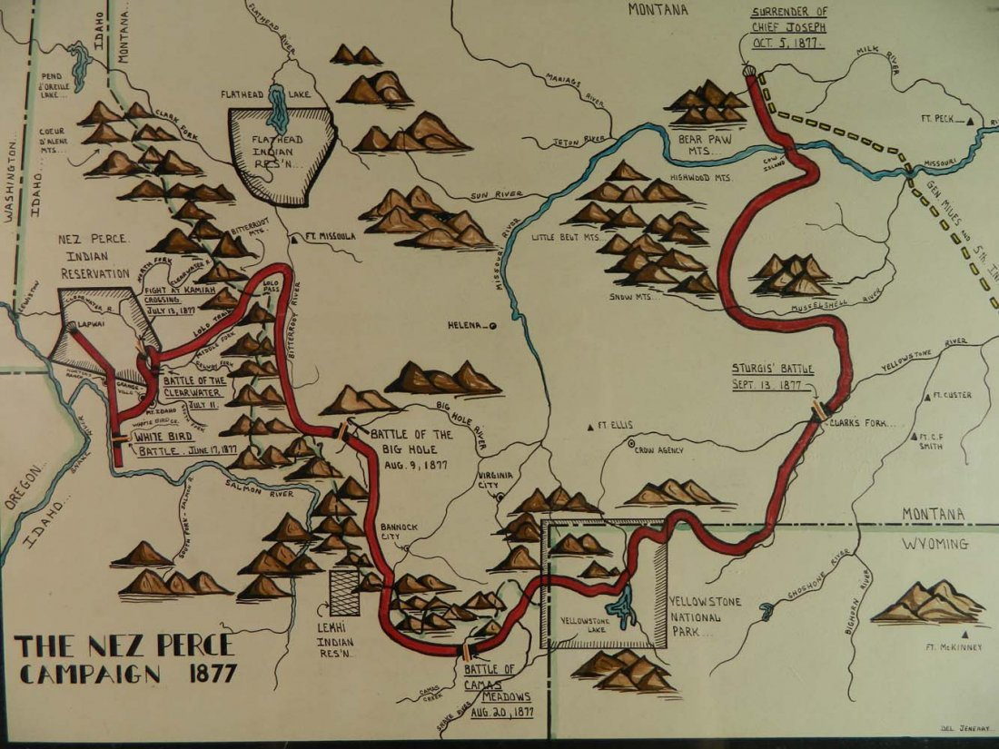 Jeneary Painted Map Nez Perce Campaign in 1877 - 2