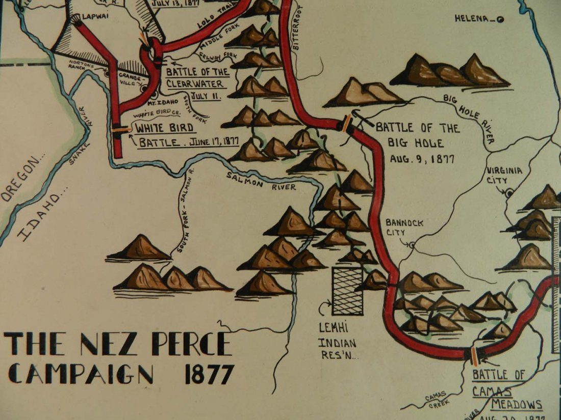 Jeneary Painted Map Nez Perce Campaign in 1877 - 3