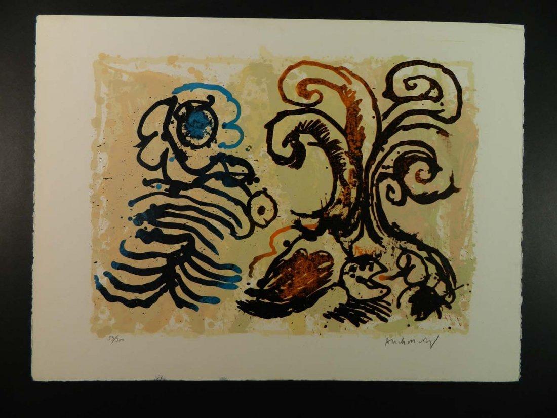 Pierre Alechinsky Belgian Abstract Flowers Cobra