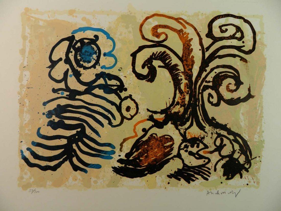 Pierre Alechinsky Belgian Abstract Flowers Cobra - 2