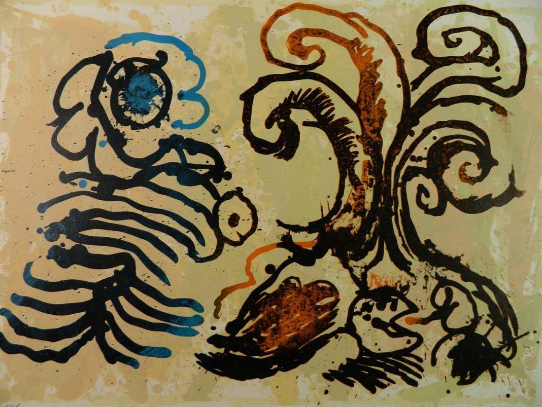 Pierre Alechinsky Belgian Abstract Flowers Cobra - 3