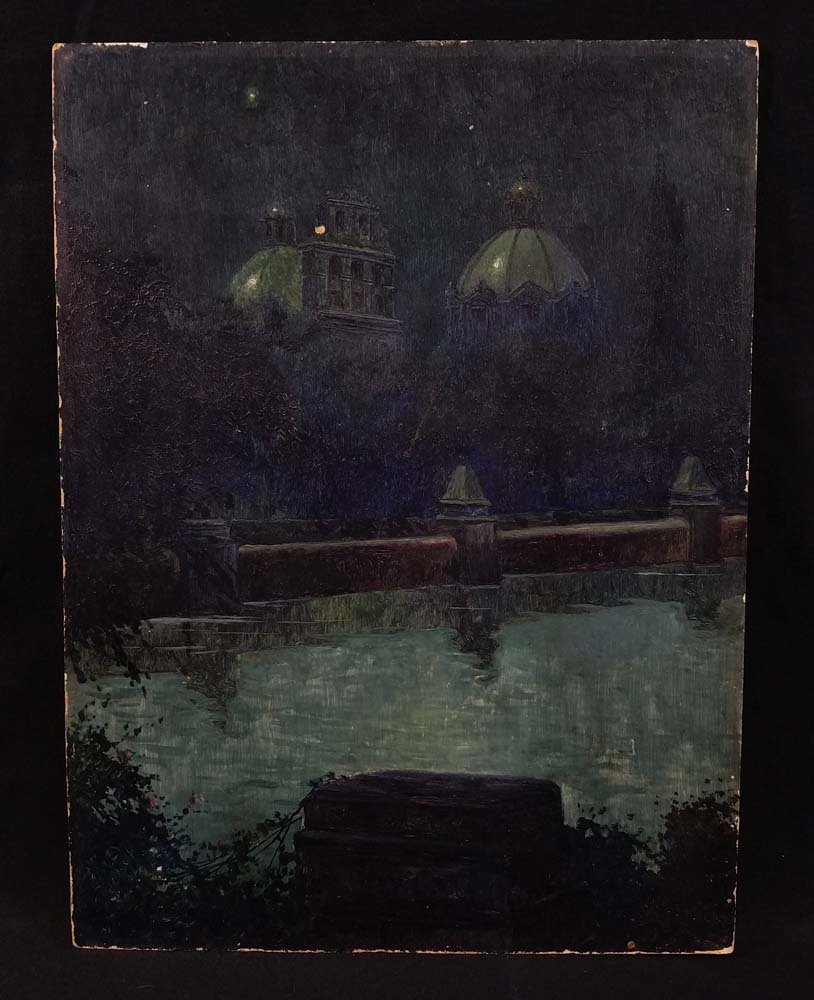 Impressionist night scene, domed buildings, river