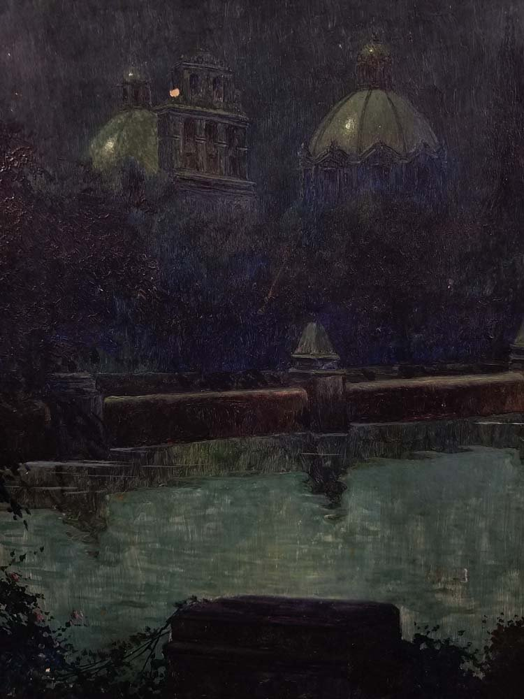 Impressionist night scene, domed buildings, river - 2