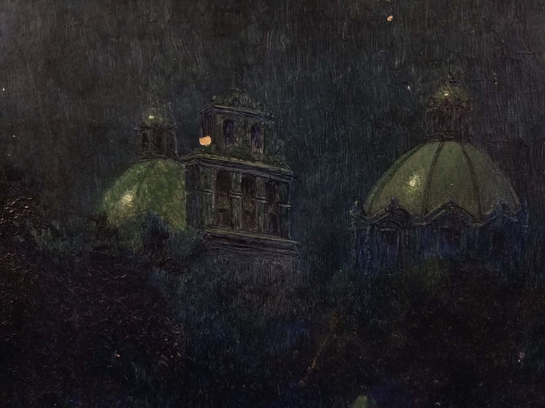 Impressionist night scene, domed buildings, river - 3