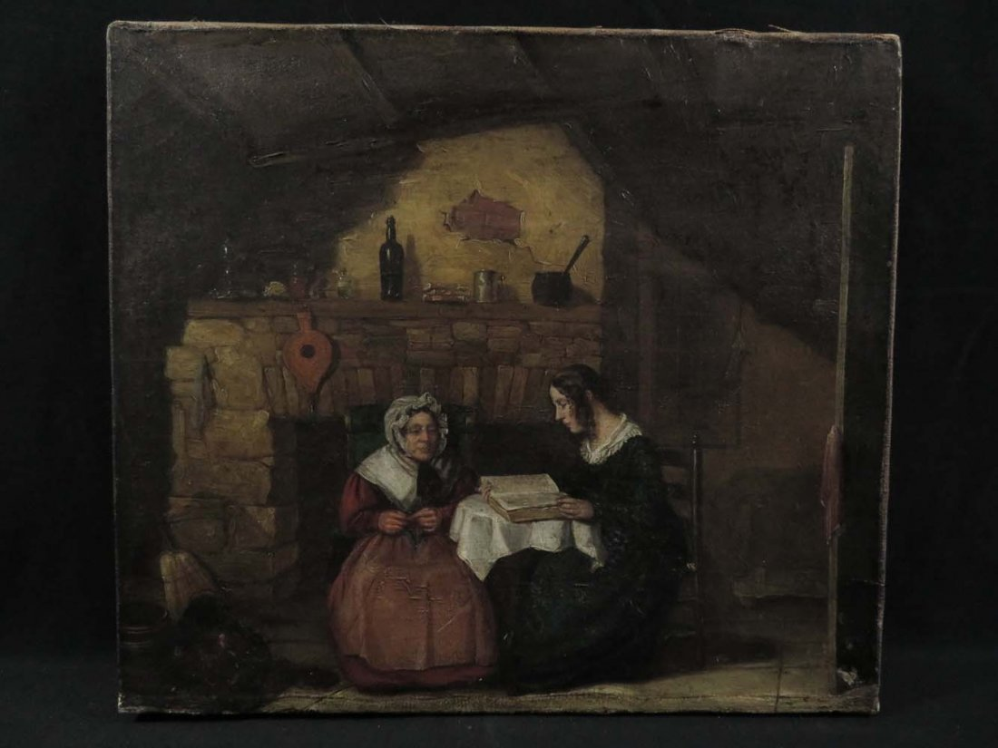 Mid 19th C Genre Mother Daughter Reading Knitting
