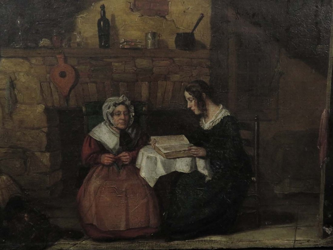 Mid 19th C Genre Mother Daughter Reading Knitting - 2