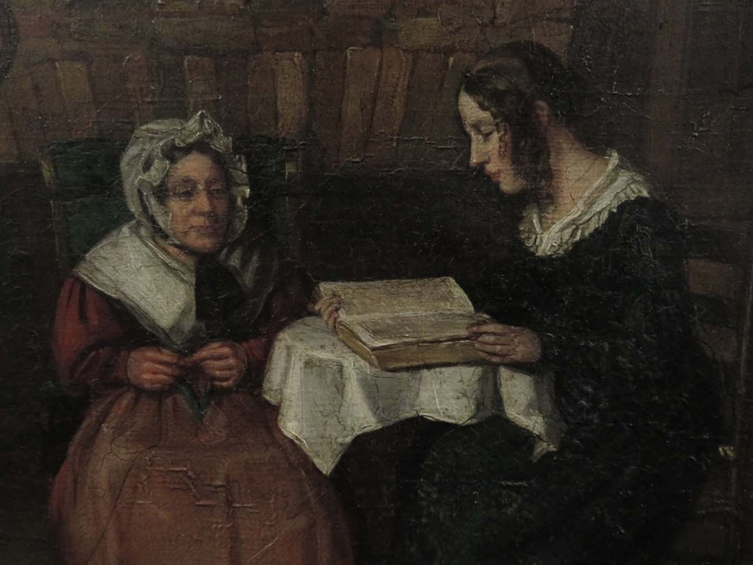 Mid 19th C Genre Mother Daughter Reading Knitting - 3