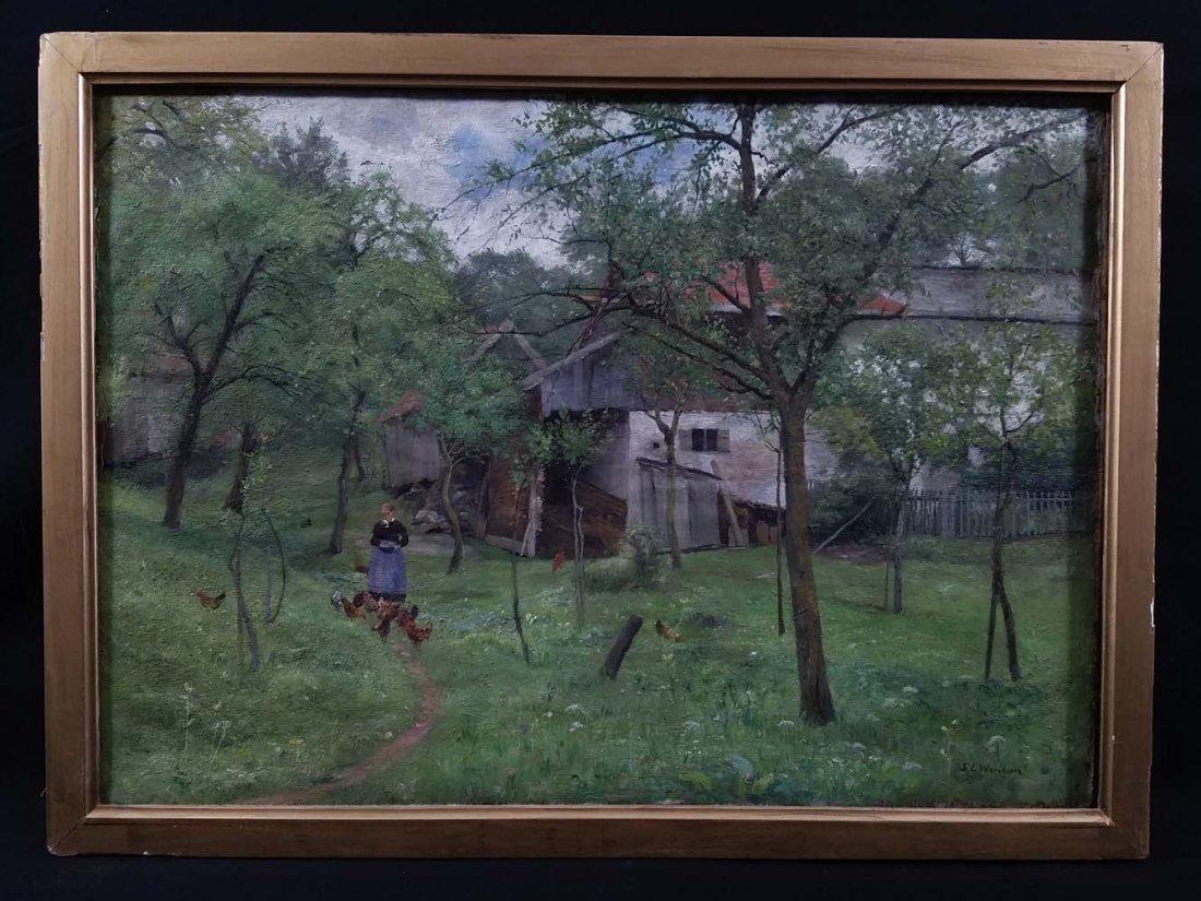 SL Wenban impressionist woman, chickens, farm