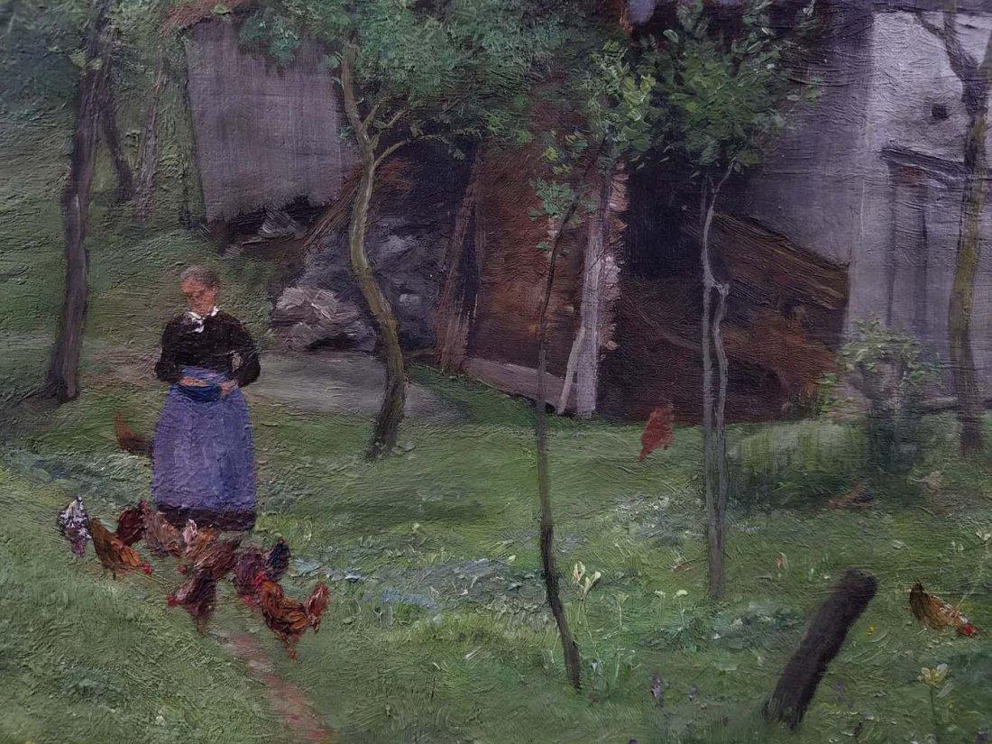 SL Wenban impressionist woman, chickens, farm - 3