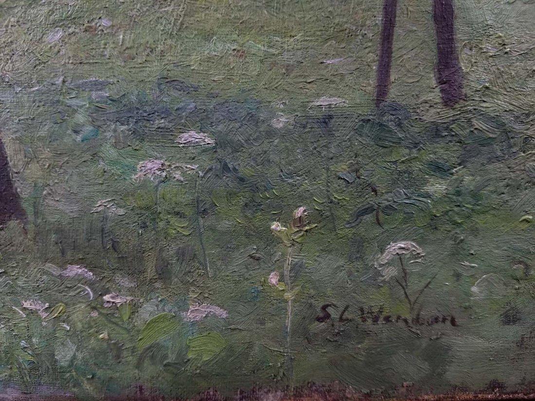 SL Wenban impressionist woman, chickens, farm - 4