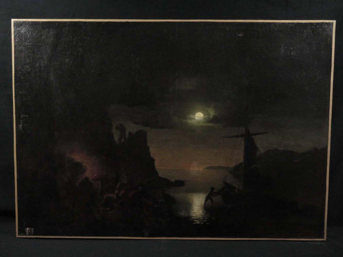 Mid 19th C American Genre Pirates Cave @ Night