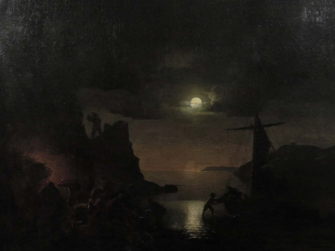 Mid 19th C American Genre Pirates Cave @ Night - 2