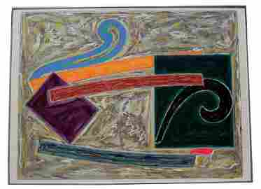 Abstract Mixed Media Signed and Dated by Frank Stella