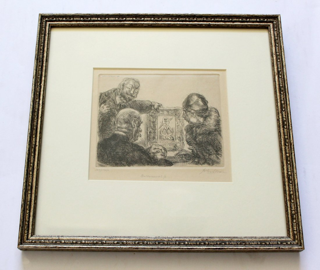 Salesmanship Etching by John Sloan Signed & Framed