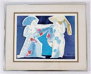 Framed Signed Adam & Eve Lithograph by Evelyn Marx