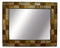 Paul Evans Era Brutalist Metal Rectangular Wall Mirror