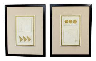 Pair of Framed Wall Reliefs Sculptures Signed Andy Mack