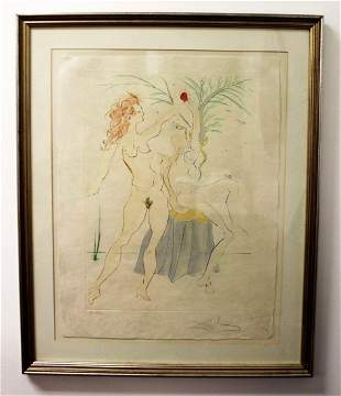 Salvador Dali Lithograph Signed Adam and Eve S.A.