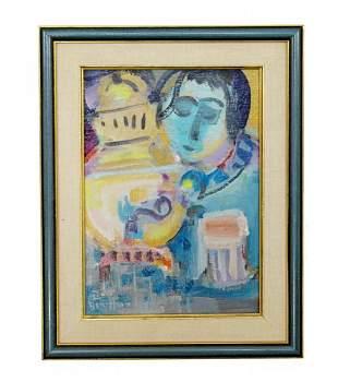 Framed Israeli Signed Mula Ben Heim Original Oil