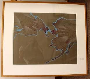 Framed Arctic Art 1987 David Barr Silkscreen Watercolor