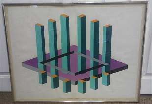 Op Art Print Signed Dated Numbered by Chalf 1970 Purple