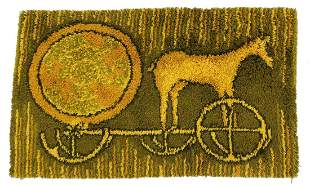 Green Yellow Fiber Art of Horse Carriage Area Rug 1970s