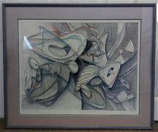 Framed Abstract Floral AP Signed Celeste Titled