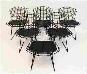 Set of 6 Black Wire Bertoia Knoll Side Chairs 1960s