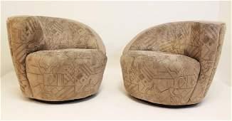 Pair of Kagan Directional Swivel Corkscrew Chairs