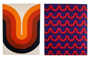 Verner Panton Pair of Abstract Textile Hanging Wall Art