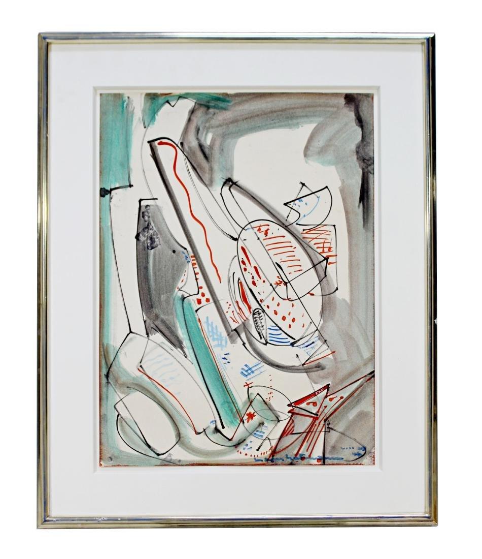 Modern Framed Upward Oil on Paper Signed Hans Hofmann
