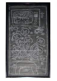 Framed Subway Drawing Chalk Black Paper by Keith Haring