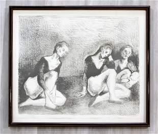 Raphael Soyer Dancers AP Lithograph Signed Framed