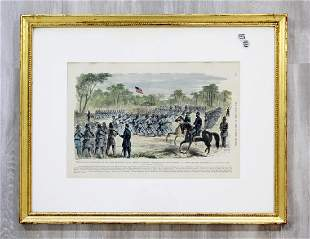 Harpers Weekly Civil War Hand Tinted Framed Woodcut