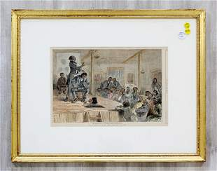 Harpers Weekly Blackville Hand Tinted Framed Woodcut