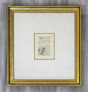 Renoir Sur La Plage Etching Drypoint Framed Signed